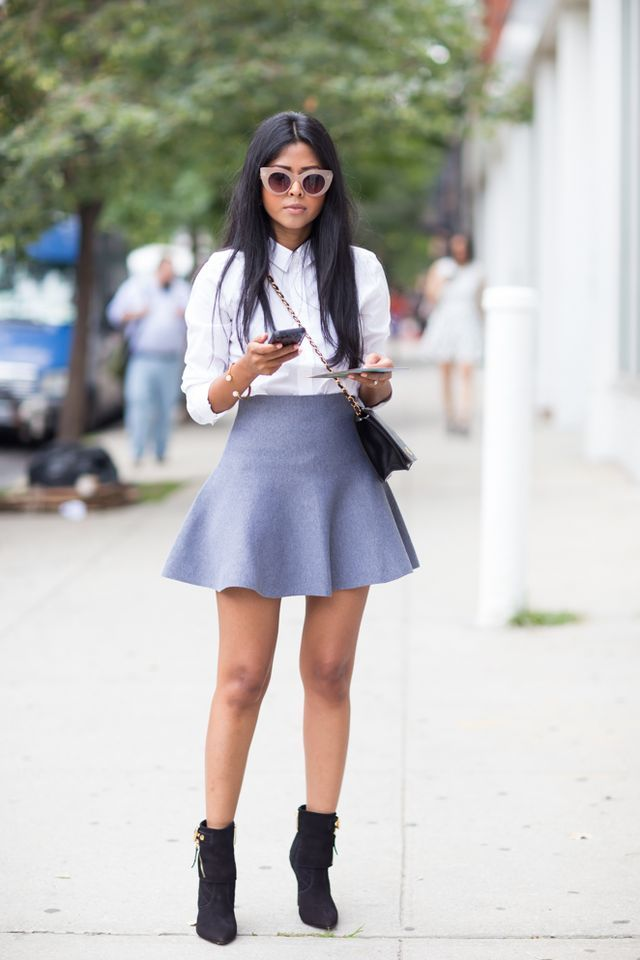 Shirt: G Star Raw / Skirt via Shop Anthom / Skirt 2: Grey Mini by Asilio the Label / Shoes: Carmen Steffens / Bag: Vintage Chanel / Jewelry: Stella Valle Hello