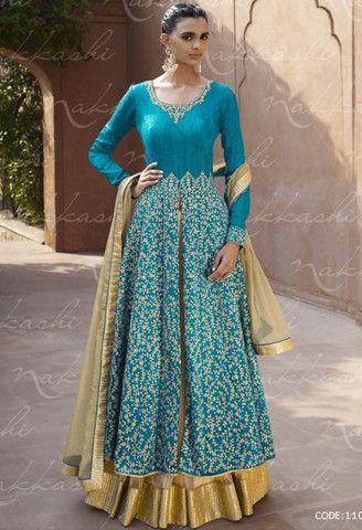 Blue Bhagalpuri Designer Palazzo Salwar Kameez..@ fashionsbyindia.com #designs #indian #fashion #womens #style #cloths #fashion #stylish #casual #fashionsbyindia #punjabi #suits #wedding #salwar #kameez #chic #outfits #anarkali