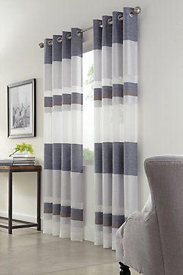 Home depot - 27$  Panneau de draperie à oeillets, bleu, rayures horizontales, voilage, 52 x 84