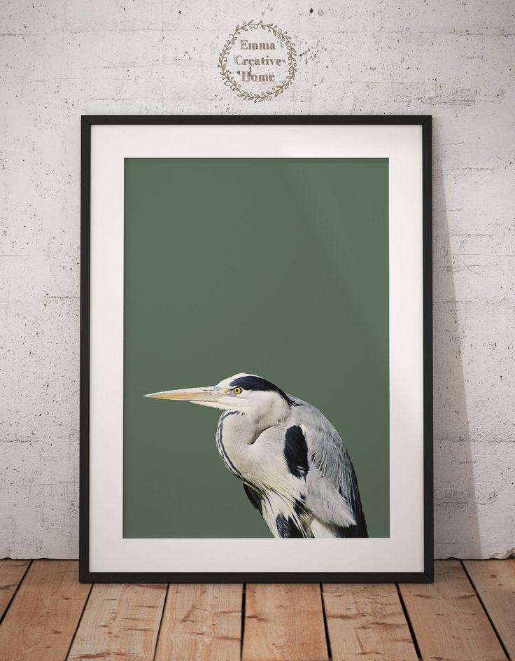 Grey Heron Print, Digital Download,Digital Print, Bird Art, JPG, Animal Art ,Nature, Bird Dekor, Wall art Print,Birds, Black and White by EmmaCreativeHome on Etsy