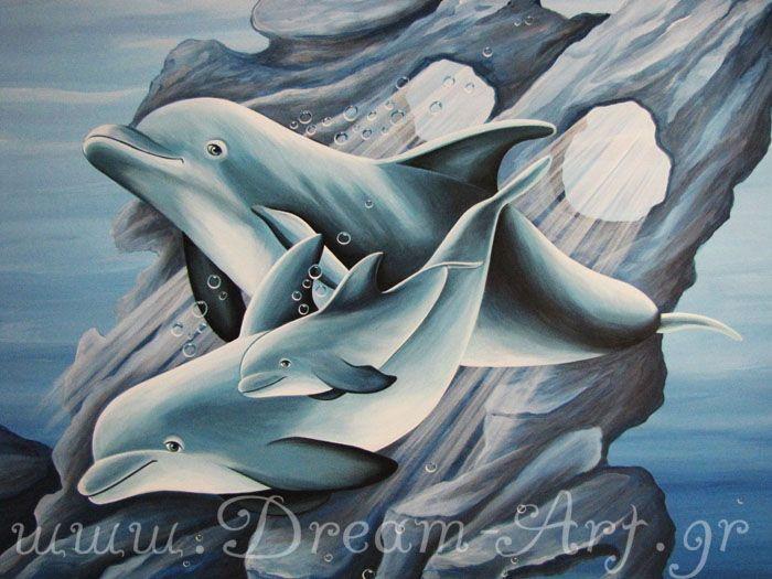 Δελφίνια στον τοίχο του παιδικού δωματίου