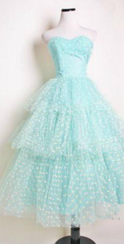 Vintage polka dot prom dress ~Debbie Orcutt ❤