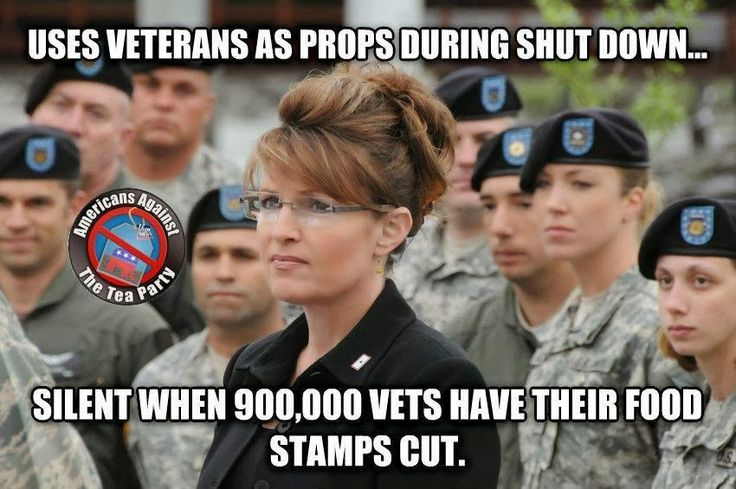 - it would be funny if it wasn't for the fact that it's true. And, that Vets shouldn't even need food stamps, in the first place! They should have jobs and benefits! Their income should be enough to provide for all their needs. Veterans should not have to rely on social programs to provide for themselves and their families. But they're just moochers, living off the government aren't they, Sarah?