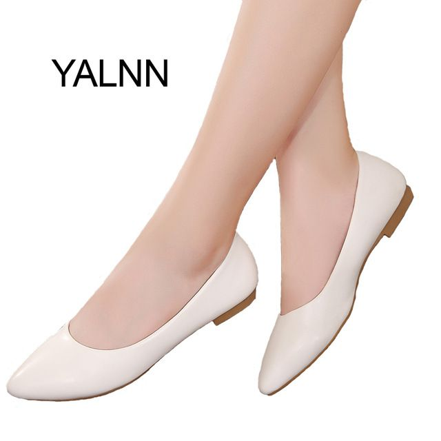 Offer Today $22.29, Buy YALNN Women Shoes Flat New Leather Platform Heels Shoes White Women Pointed Toe Leather Girl Shoes