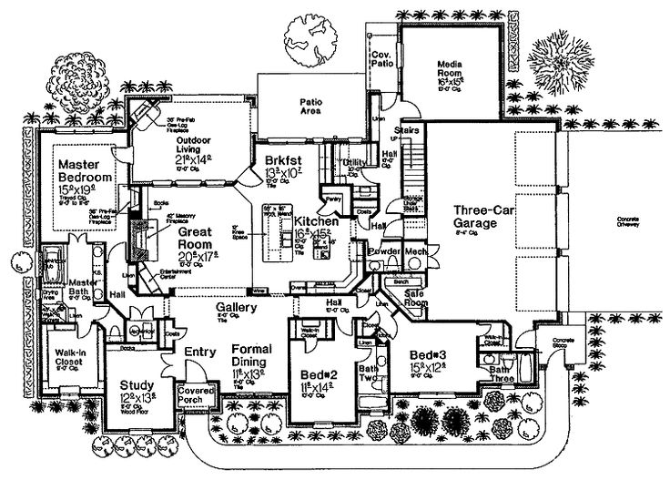 floor plans aflfpw14987 1 story french country home with 3 bedrooms 3 bathrooms and