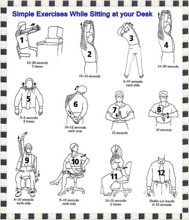 Architecture Workouts At Your Desk Original Newest Illustration 11 Exercises Do Intended For Exercise While Exercise While Sitting Scoliosis Exercises Exercise