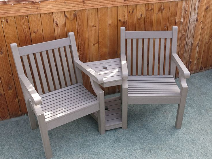 Love Seat bench Neutral grey colour. 2 year weatherproof guarantee FREE UK delivery via a courier 30 day money back guarantee Buy online today   https://www.gardenfurnitureuk.co.uk/all-weather-garden-furniture/winawood-sandwick-love-seat-grey/