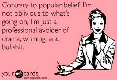 """""""Professional avoider of drama, whining and bullshit"""" quote via www.Facebook.com/WildWickedWomen"""