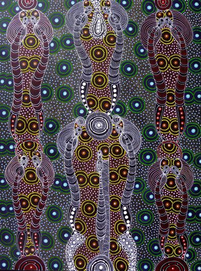 We love this traditional piece from Colleen Wallace Nungarai. Oh, the story it tells!  MB050138  Artist: Colleen Wallace Nungarai  Title: Dreamtime Sisters  Size: 120 x 90cm