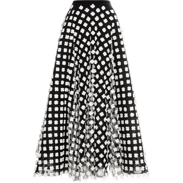 Oscar de la Renta Floral-Appliquéd Midi Tulle Skirt found on Polyvore