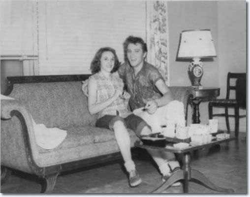 Peggy Cheshire at 16 with Elvis in the Manager's house at the Drive-In : July 15, 1955.