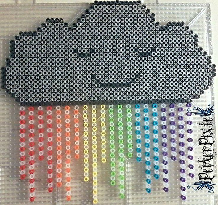 17 best images about perler bead ideas perler bead rainbow rain cloud perler beads by perlerpixie on