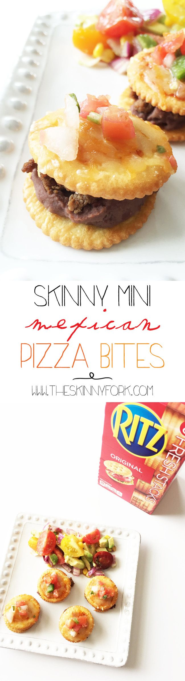 These Skinny Mini Mexican Pizza Bites #StackItUp as an appetizer, snack, or even as a little meal! They are full of flavor and so very easy to make. Yum! TheSkinnyFork.com #Ad