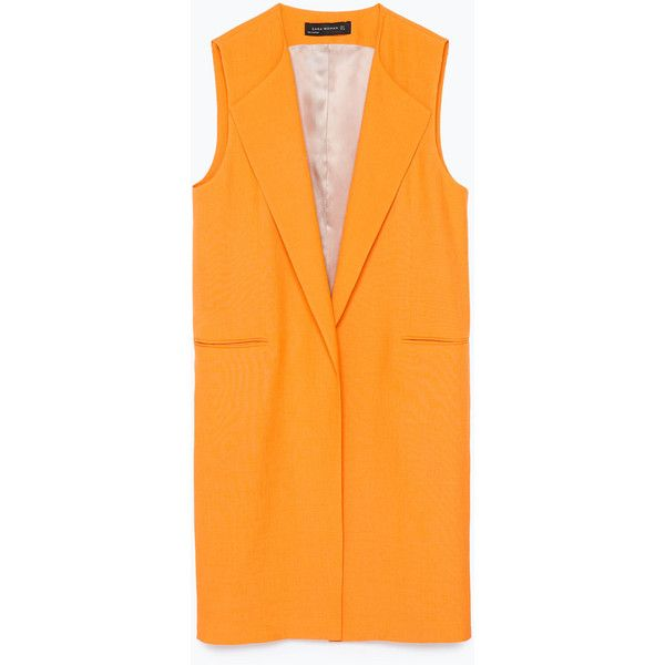 Zara Long Waistcoat ($60) ❤ liked on Polyvore featuring outerwear, vests, zara, coats, coats & jackets, orange, vest waistcoat, waistcoat vest, long vest and orange vest