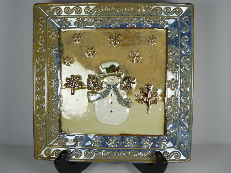 St. Nicholas Square Forest Friends 9.25  Snowman Square Serving Plate Dish | eBay