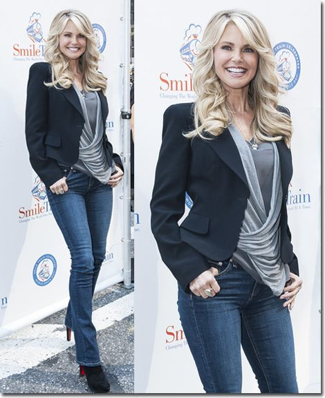 How to look pulled together in jeans?  Look at Christie Brinkley's ageless celebrity style for inspiration. Want to look the part? I invite you to participate in my free style challenge: www.focusonstyle.com/stylechallenge