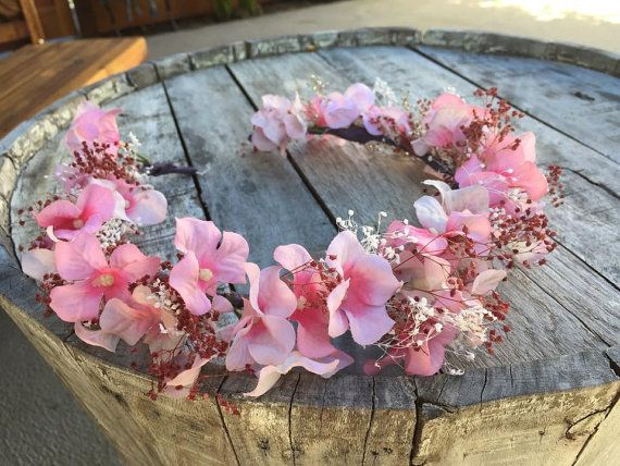 tie back floral crown,will fit any size from little girl as to adult,flower girl,pink floral wreath