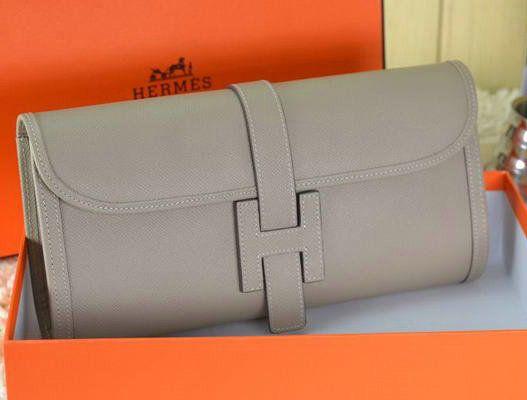Hermes Jige Clutch Bag Calfskin Leather Grey