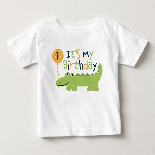Cute Alligator Birthday Baby T-Shirt