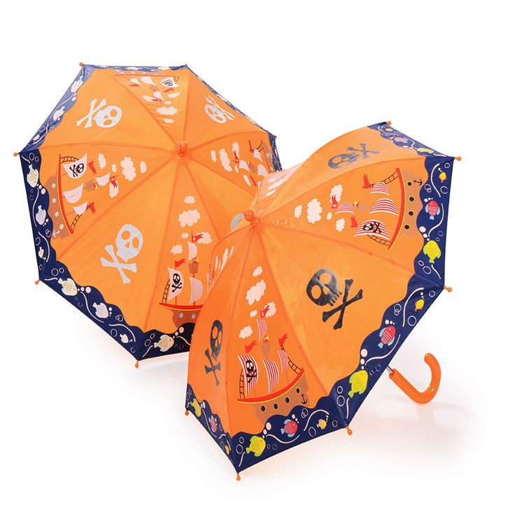 Orange Colour Changing Kids Umbrella Pirate Ship by Think Pink