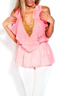 Sheer Neon pink blouse with gold chains and elastic waist, Rock with white or denim skinny skinny, over shorts or skirt 76% Rayon 20% Nylon Made in USA (I fit Small)