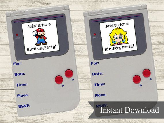 Gameboy Super Mario / Princess Peach Video Game Birthday Party Invitation (Instant Download PDF Printable)