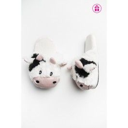 Cow slip on fur slippers