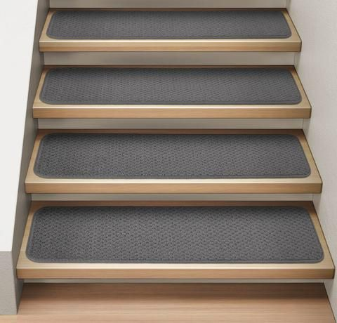 Set Of 15 Attachable Carpet Stair Treads Gray