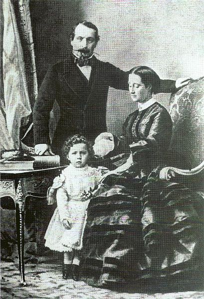 Emperor Napoleon III with his wife Empress Eugénie de Montijo and their only child Napoléon Eugène, Prince Imperial