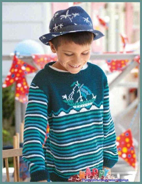 Озорные петельки: Пуловер в морском стиле для мальчика.