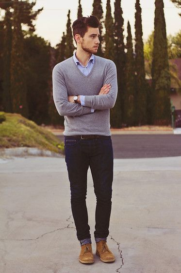 Basic, clean look. Gray v-neck, Plain blue shirt, dark denim, suede chukkas