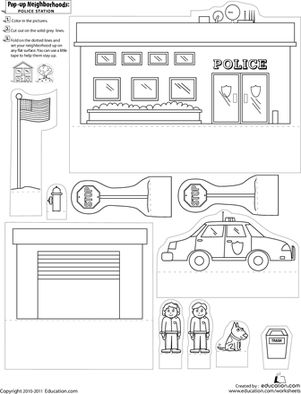 First Grade Paper Projects Worksheets: Pop-Up Neighborhoods: Police Station