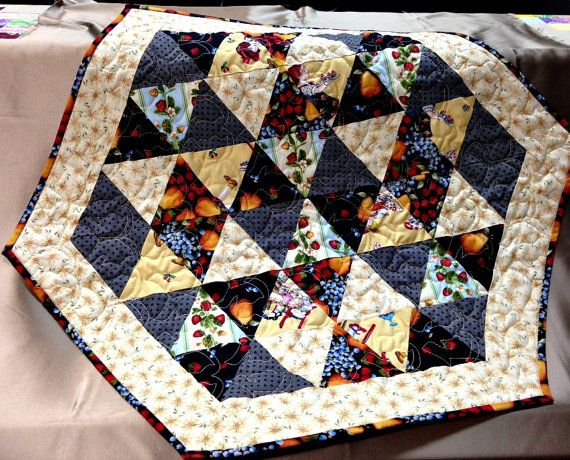 Quilted Table Runner Hexagonal Table Topper By