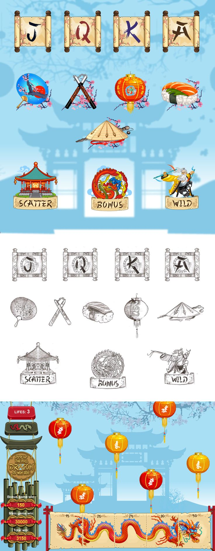 "Development of graphic design for the game slot-machine ""China"""