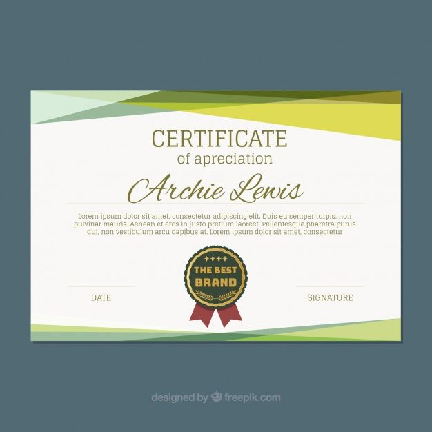 Certificate template with colored shapes Free Vector