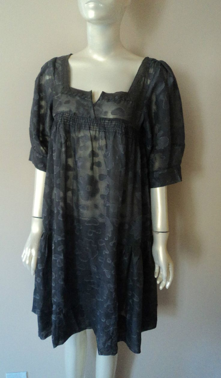 2Pc Lucca Empire Waist Grey Floral Chiffon Dress With Slip Size S, M, L Nwt