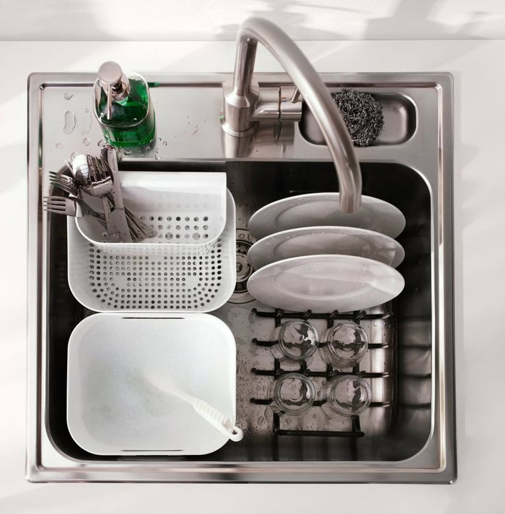 The BOHOLMEN washing and rinsing basket is the answer to washing dishes in a single bowl sink. The holes make it great for washing fruits and vegetables, too.