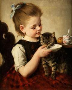 Wilhelm Johann Schutze - Mädchen Mit Katze