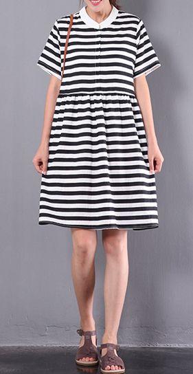 new black white striped dresses plus size patchwork sundress short sleeve mid- dress