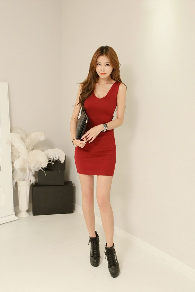 V Line Slim Dress