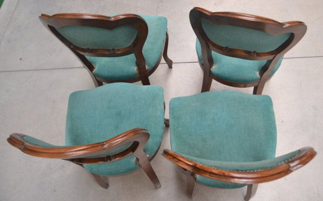 Quattro sedie imbottite Luigi Filippo '800 in faggio e velluto+