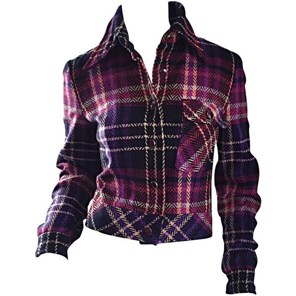 Pre-owned 1970s Vintage Addena for I. Magnin Pink + Purple Plaid... ($450) ❤ liked on Polyvore featuring outerwear, jackets, single-breasted jackets, woolen jacket, plaid wool jacket, purple jacket, pink wool jacket e vintage plaid jacket