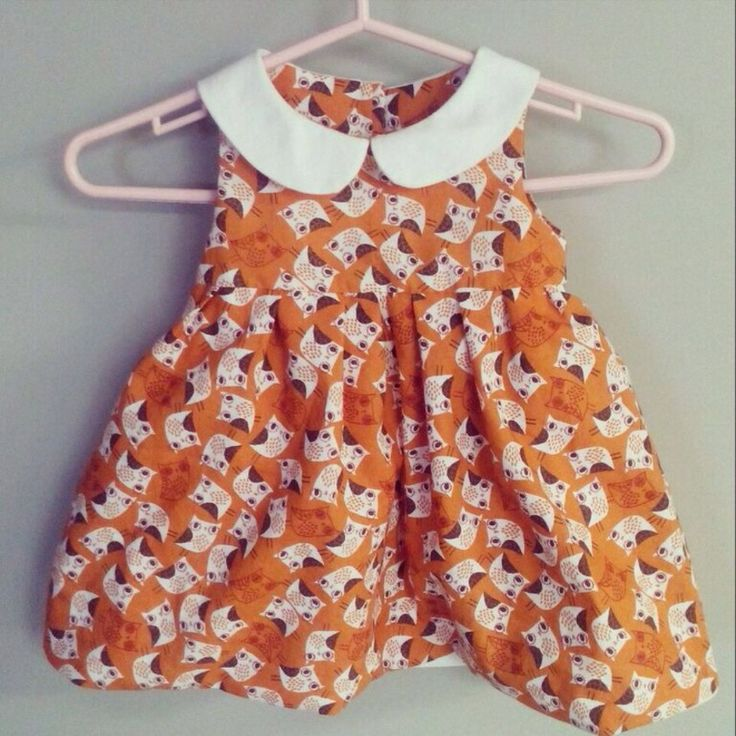 A cute dress I made for my cousins baby girl. #owldress #peterpancollar #babyclothes #carlingscorner