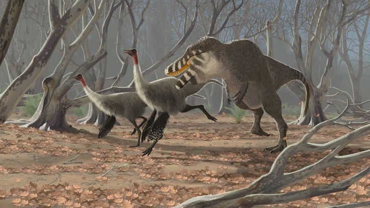 """John Conway, """"Tarbosaurus and Gallimimus."""""""