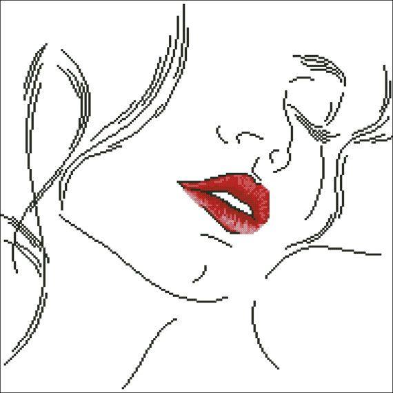 0 point de croix portrait levres rouges - cross stitch red lips portrait