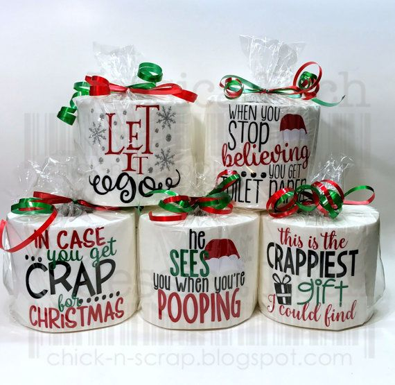 Everyone will love these cute funny sayings on a roll of toilet paper. These make a great White Elephant Christmas Gift, Gag Gift or Secret Santa Gift. They also make a GREAT Stocking Stuffer.  Each Roll of Toilet paper is decorated with Heat Transfer Vinyl and the vinyl is only applied to one layer of toilet paper allowing for the item to be used by the recipient.  Each roll will be packaged individually in a bag with a ribbon ready to give for your gift.