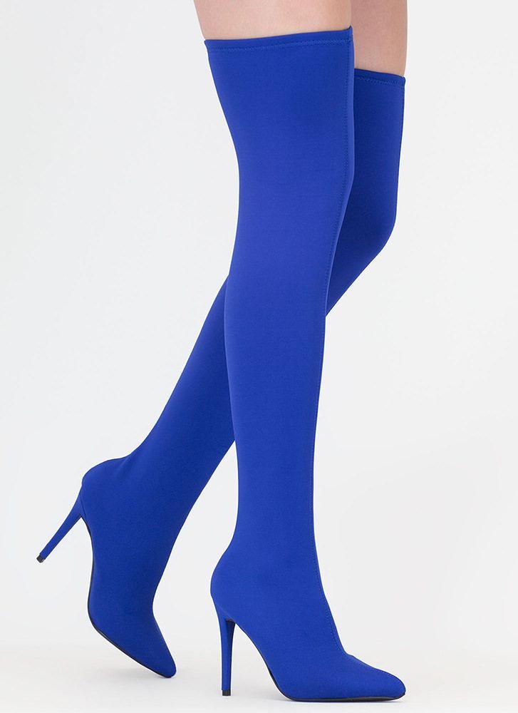dfe31a3ed8e Just Say High Lycra Thigh-High Boots OLIVE PURPLE BLUE - GoJane.com ...