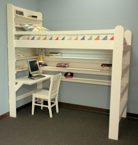 Loft Bed Bunk Bed College Youth Child Teen Loft Bed All-In-One Sleep & Study Loft Bed with Short Desk.  Click for more info...