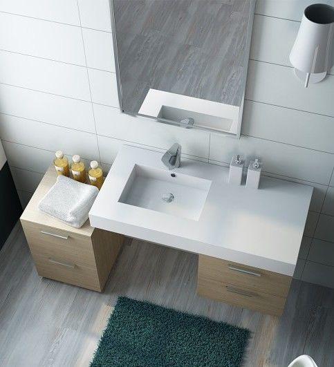 Mobile arredo bagno sospeso bianco rovere chiaro - Piano lavabo bagno ...