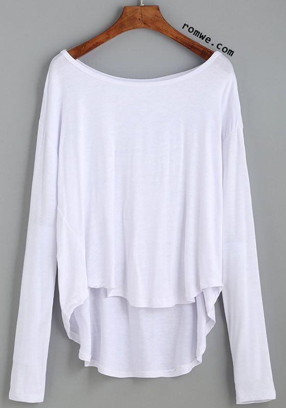 White Drop Shoulder High Low T-shirt